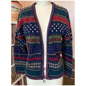 Vintage 90's Hand Knit Hearts Cardigan Sweater